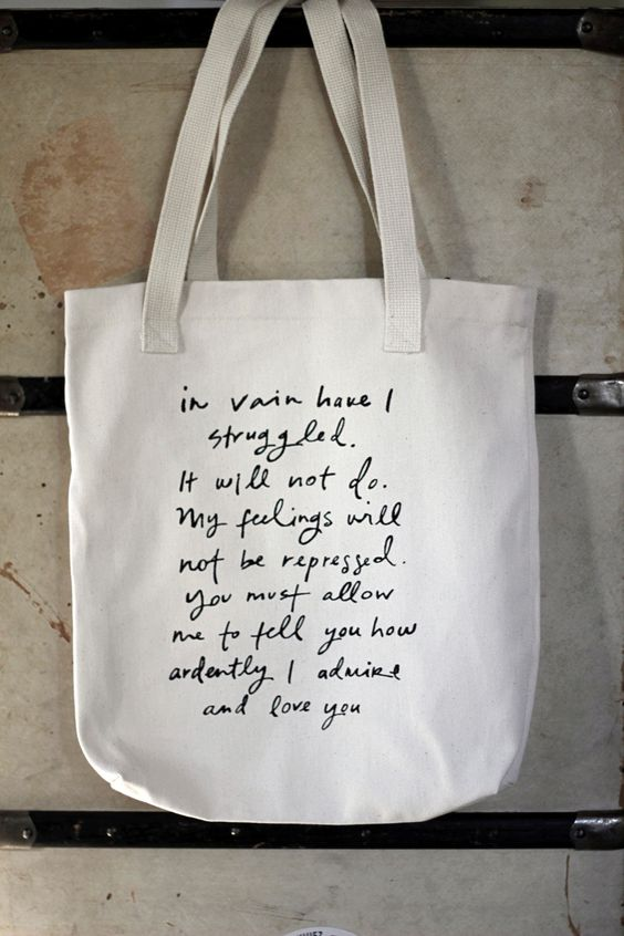 Mr. Darcy Proposal tote bag -  Jane Austen I want it! and I have to say that I fangirl when reading it.