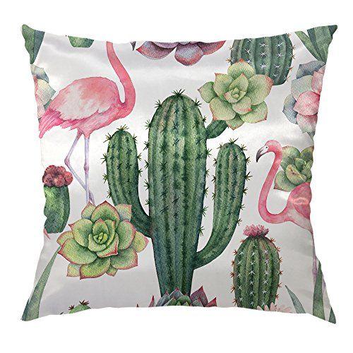 Moslion Cactus Pillow Decorative Throw Pillow Cover Pink Flamingo Succulent Plants Satin Square Cushion Co Pillows Decorative Throw Pillow Covers Cactus Pillow