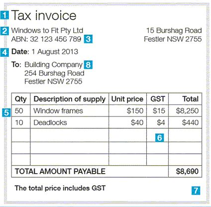 Example of a Tax Invoice where the invoice value is greater than - example invoice