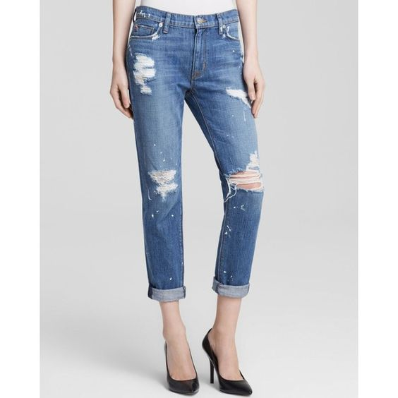Hudson Jeans - Jude Slouch Skinny in The Strip ($99) ❤ liked on Polyvore featuring jeans and the strip