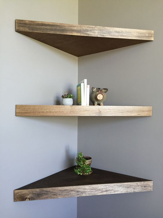 Comfy Strained Corner Shelf Made Of Ikea Lack Ones Are Perfect For Tiny Spaces Wood Corner Shelves Floating Shelves Diy Floating Shelves Bathroom