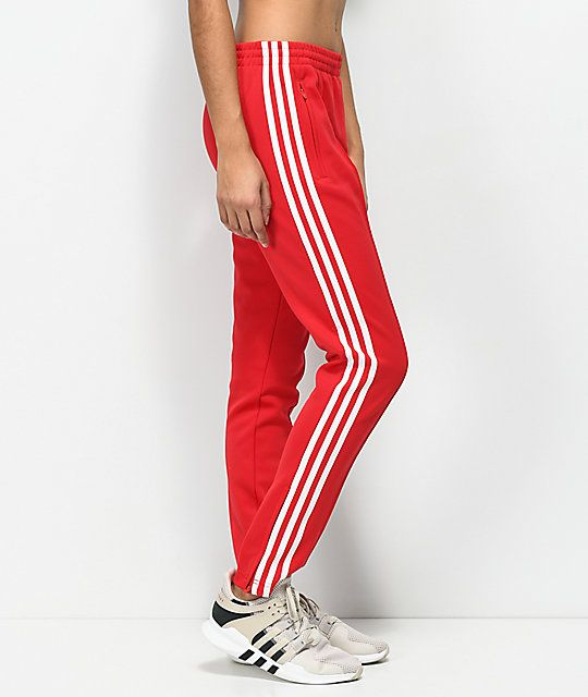 adidas 3 Stripe Red Track Pants in 2019 | Pants, Adidas ...
