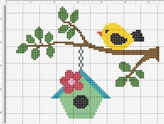 Gráficos de passarinhos em Ponto Cruz!! Retirados da net!!