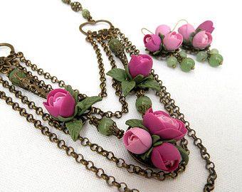 Forget Me Not Flower Jewelry Jade Jewelry Wedding by insoujewelry