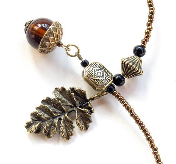 Acorn bookmark, beaded book thong - antique bronze leaf & amber glass beads. $16.00, via Etsy.