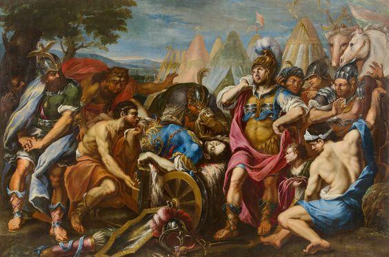 Francesco Rosa  Genua um 1638 – Nach 1710 Venedig  Alexander der Große betrauert den toten Dareios III. (330 v. Chr. bei Hekatompylos). Um 1700 Öl auf Leinwand. 216 × 324 cm (85 × 127 ½ in.)