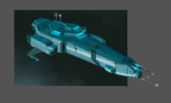 """""""Roach"""" is a battlecruiser-class spaceship. Exercise in designing spaceship using 3d blockout with painting over in PS."""
