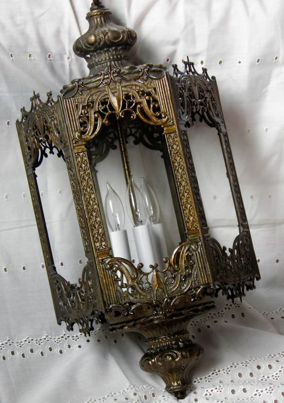 Antique Victorian Lantern Art Nouveau Light Vintage Victorian Chandelier Hanging Light Beautifully Ornate w/ Fantastic Filigree. $249.00, via Etsy.