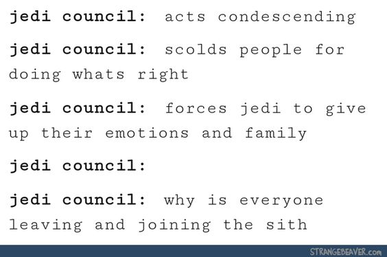 This is why I would be a GREY JEDI and not a member of the Corruscant Jedi Order. There MUST be different orders of Jedi aside from the one seen in the prequels. Or at least once would have been other orders with slightly different philosophies.: