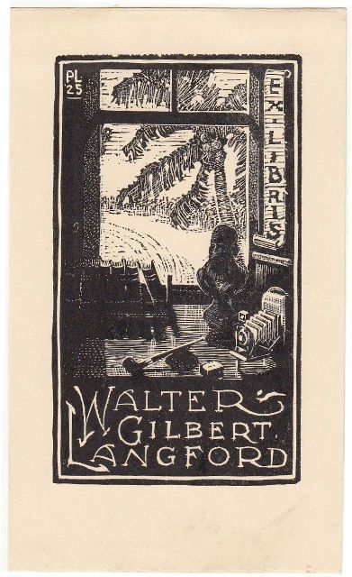 Litchfield, Phillip M: Ex Libris Walter Gilbert Langford. Room with books, whistle, Bust, Camera and windows.