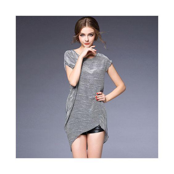 Fashionalbe Microgroove Irregular Silk Dress60207 S