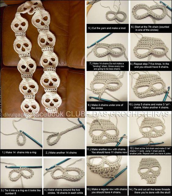 Skull Crochet Scarf @A. ka Doud: