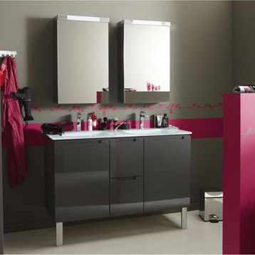 meuble de salle de bains neo gris smoke n 1 leroy. Black Bedroom Furniture Sets. Home Design Ideas