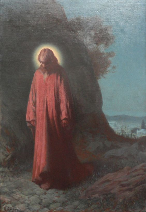 """""""He who loves, obeys.   If you want to be sure how great your love for God is,  measure your obedience to God's will, and you will know."""" (Jesus Christ on the Mount of Olives, by Amoedo Rodolfo, 1917)"""