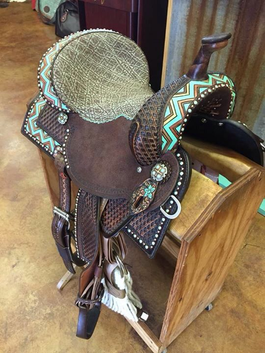 Double J Saddlery brown and turquoise western saddle