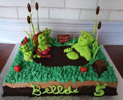 Custom Cakes by Lori: Shrek family cake in a mud bath for a 5yr. old