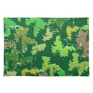 Green Theme : Military Camouflage Wave Pattern Place Mats