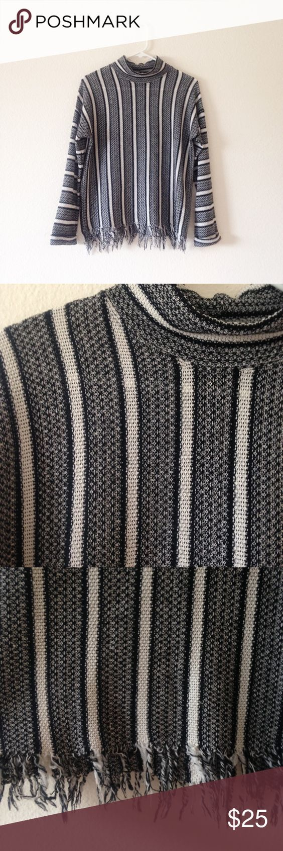Topshop Knit Black and White Baja Sweater Perfect for a chilly ...