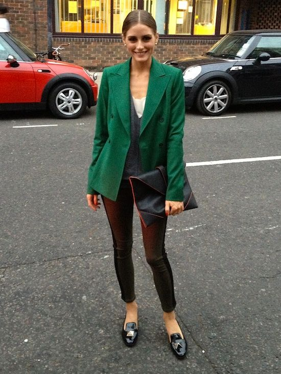 Olivia Palermo - London fashion. Blazer from Reiss over a sweater from Esprit, pants by Hudson Jeans, shoes by Valentino, and clutch also from Reiss.