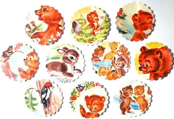 Buchstaben - [ Bärig ] 10 Sticker anno 1959, Buchrecycling - ein Designerstück…
