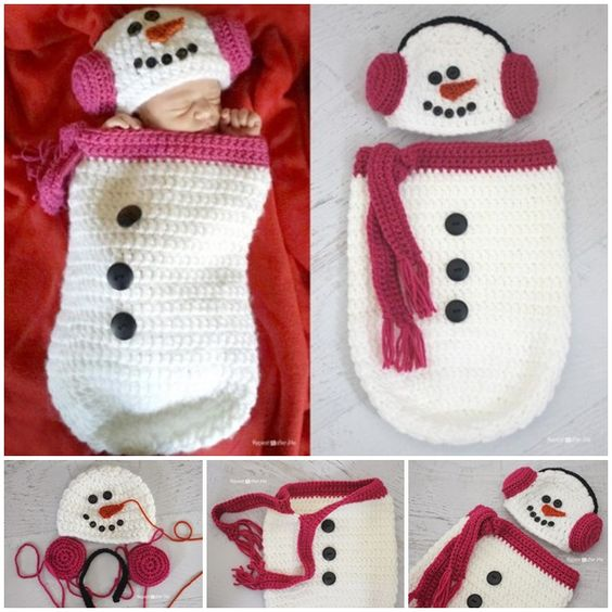 Wonderful DIY Crochet Snowman Hat and Cocoon with Free Pattern ...