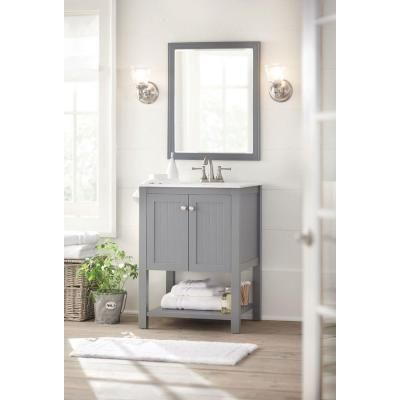 Home Decorators Collection Cranbury 24 In Vanity In Cool Gray With Vitreous China Vanity Top In