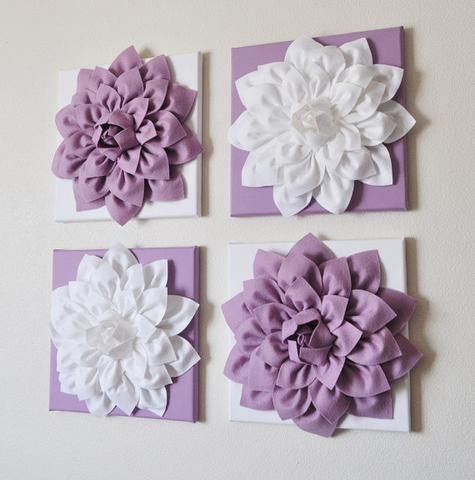 Lilac And White Floral Wall Art Hanging Flower Wall Lilac Decor Textured Wall Art