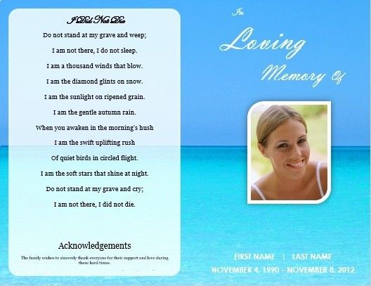Memorial Card Template Free Download Lovely Single Fold Beach Funeral Program Template For Memorial Cards Memorial Cards For Funeral Card Templates Free