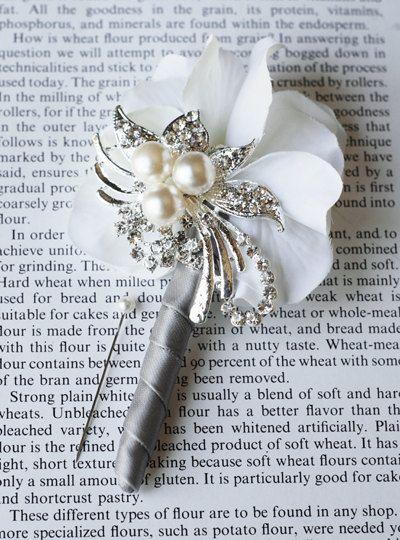 Hydrangea Boutonniere Corsages  Pearl Rhinestone brooch DIY