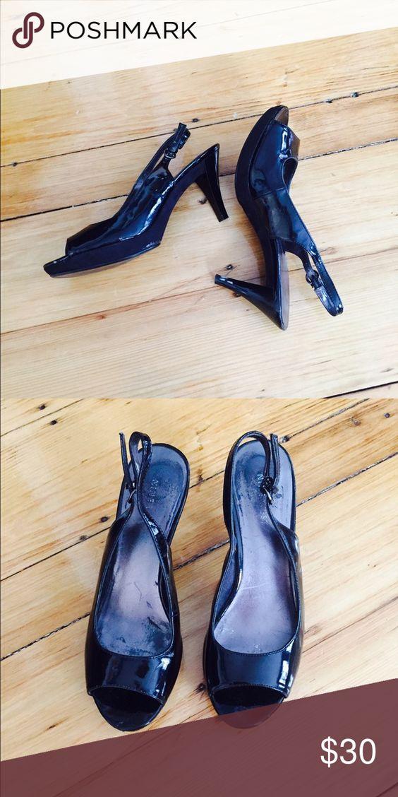 Black Nine West Heels Black, peep toe, sling-back, 2-inch heels. Good condition & very comfortable. Nine West Shoes Heels