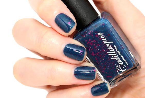 Forzen Heart - Cadillacquer - Petrichor Collection  A dark dusty blue crelly, filled with berry hex & square glitter and small magenta holo glitters.