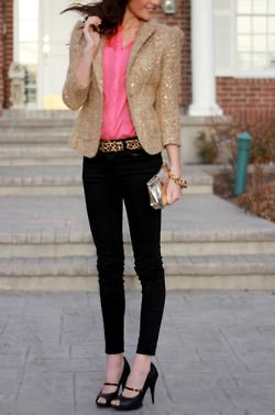 sequined blazer really livens up this otherwise casual outfit.