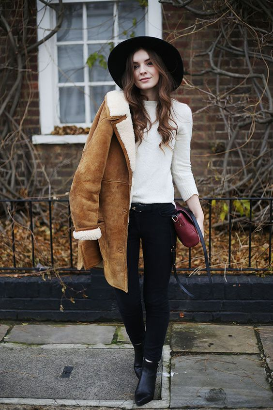 tan suede shearling jacket / classic black and white inner