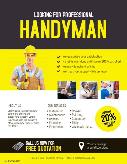Handyman Service Flyer Template Handyman Business Flyer Design