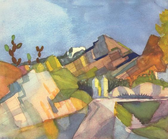 August Macke (1887 – 1914) was one of the leading members of the German Expressionist group Der Blaue Reiter (The Blue Rider)    1914+Rocky+Landscape+watercolour+24+x+20+cm.jpg (1600×1326)