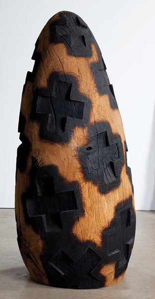 David Nash, Exeter   David Nash is back with more planed and chiselled, and sometimes burned and gnarled, wood sculptures, such as Charred Cross Egg (2003). At CCANW, Haldon Forest; Dartington Hall, Totnes, until 25 September