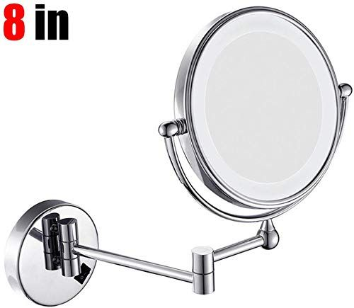 Best Seller Gaibo Wall Mounted Makeup Mirror 8 Inch Led Lighted Double Sided 360 Rotation 10x Magnifying Extendable Vanity Mirror Hotels Spa Shaving Silver On In 2020 Wall Mounted Makeup Mirror Mirror