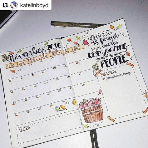 Calendário de novembro! Já fez o seu?  #Repost /katelinboyd/ with @repostapp ・・・ November spread complete!