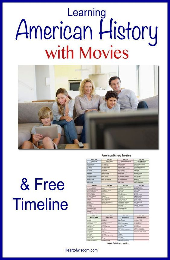 Learn American History with Movies! Chronological Movie list and Free printable timeline