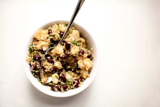 Week 02 - quinoa, black bean, and hominy salad. Looking forward to making this for a mid-week dinner.