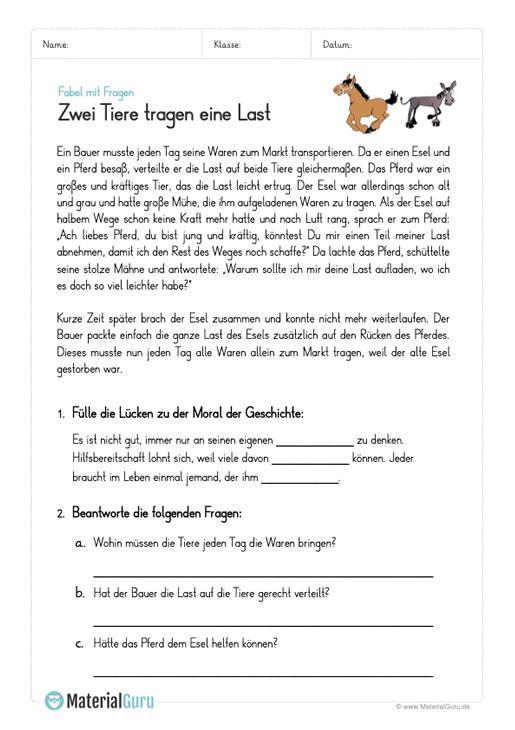 Fabeln Materialguru In 2020 Fabeln Grundschule Deutsch Lernen Fabeln