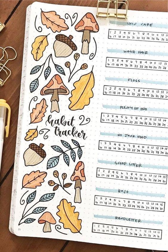 20 idées de Bullet Journal pour l'automne ! (page par @wildeyesbujo)