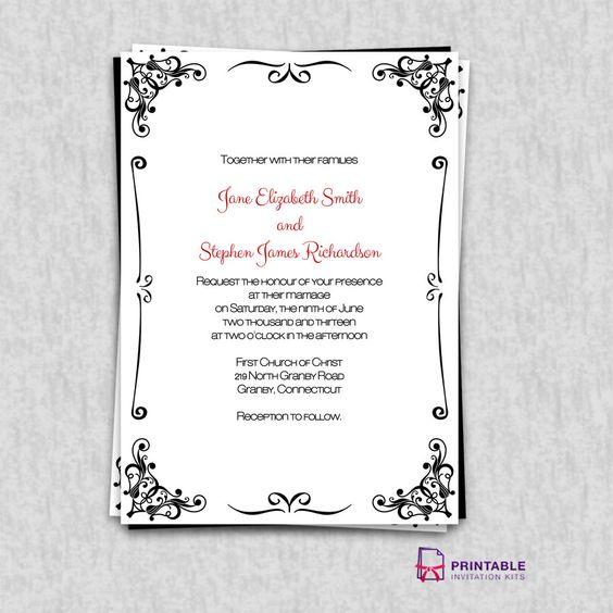 Print Wedding Invitations At Home: FREE PDF Invitations. Retro Border Wedding Invitation