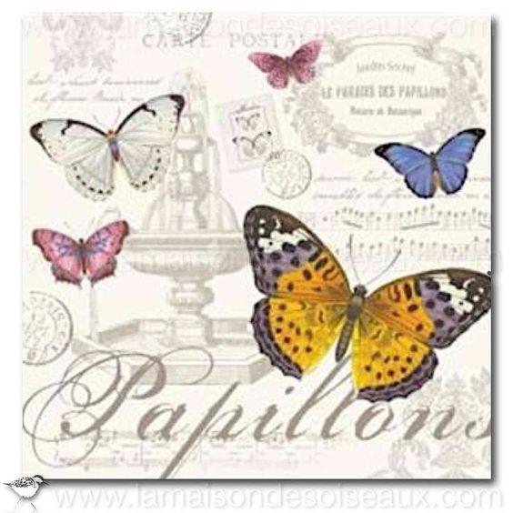 Paquet 20 serviettes papier imprimé papillons