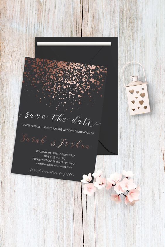Rose Gold And Gray Save The Date Card Printable Template Etsy Fun Wedding Invitations Wedding Saving Wedding Invitations