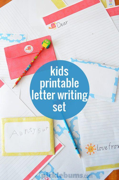 Free Printable Kids Letter Writing Set   Kids Letters, Letter Writing ...