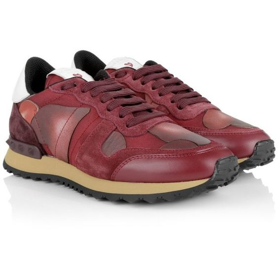 Valentino  Camuamour Sneaker Red Multi  Shoe (3,040 MYR) ❤ liked on Polyvore featuring shoes and red