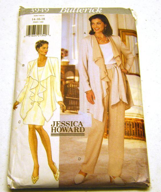Jacket Top Skirt Pants Sash (Size 14-16-18) Butterick 3949 - Uncut Factory Folds. $6.50, via Etsy.
