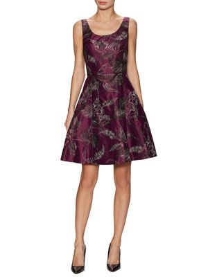 Silk Printed Scoopneck Fit and Flare Dress