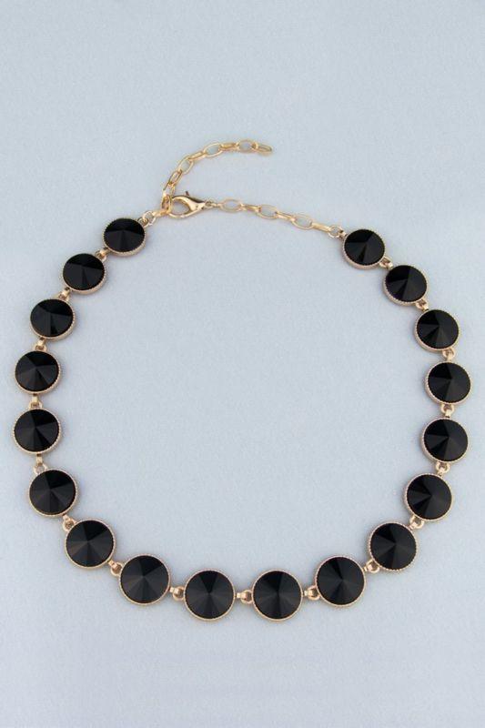 Black Circle Gem Stone Gold Chain Necklace